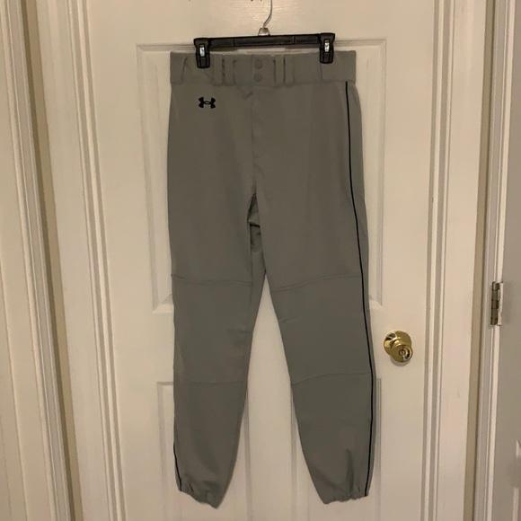 Men's Grey and Black Under Armour Baseball Pants